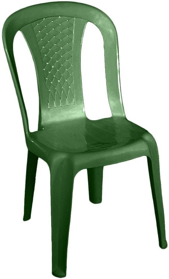 SIBrand Evergreen Silla apilable de Resina Verde Muebles Jardín Bar Laura eg55157: Amazon.es: Jardín
