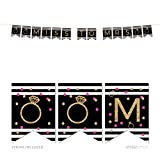 Andaz Press Black, White, Hot Pink, Gold Glittering Bachelorette Party Bridal Shower Collection, Hanging Pennant Party Bridal Shower Banner with String, Miss to Mrs., 5-Feet, 1 Set