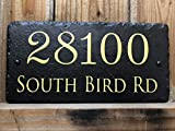 Sassy Squirrel Handcrafted and Customizable Slate Home Address Plaque (12''X6'')