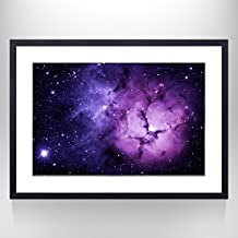 Lavender Color Galaxy Space Wall Decal Art,Gallery Wrapped Poster,Framed and Stretched,Ready Hanging On,Modern Mural Photo Art for Office,Living Room,Reading Room,Hotel Wall Decor