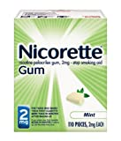 Nicorette Nicotine Gum Mint 2 milligram Stop Smoking Aid 110 count