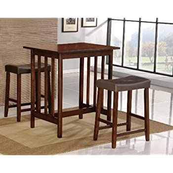 Amazon Com Roundhill 3 Piece Counter Height Dining Set