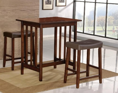 Cherry Counter Height Dining Table Set (Roundhill 3-Piece Counter Height Dining Set with Saddleback Stools, Cherry)