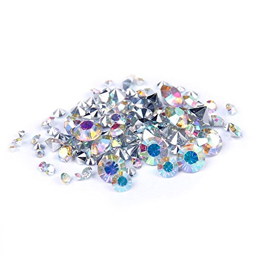 Nizi Jewelry Crystal AB Color Resin Rhinestones Pointed Back 2mm 2.5mm 2.8mm 3mm 4mm 4.7mm 6.5mm Mixed Together (Mixed Sizes 1000pcs) (Crystal Point Back Rhinestone)