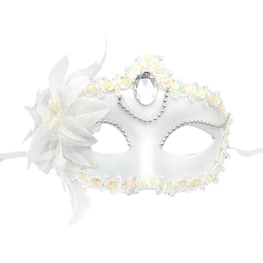 Mascaras Venecianas Mascaras Carnaval Pl/ástico y Diamantes Flor de Imitaci/ón Noche Baile Navidad Fiesta M/áscara de la Mascarada Negro