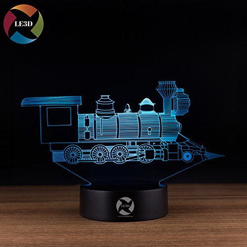 LE3D 3D Optical Illusion Desk Lamp/3D Optical Illusion Night Light, 7 Color LED 3D Lamp, Train 3D LED For Kids and Adults, Train Light Up (Train Plate Steam)