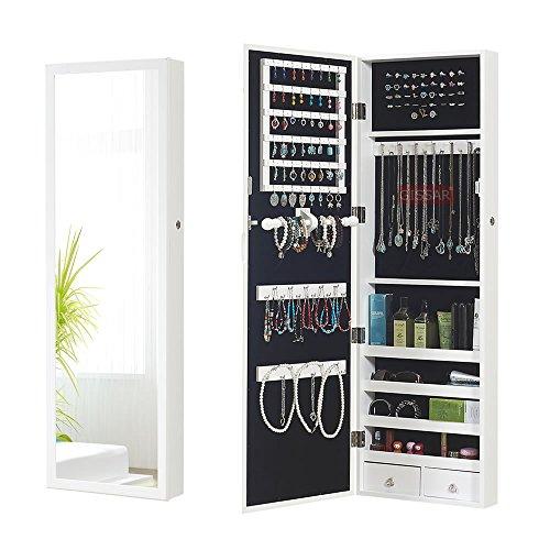 Wall Jewelry Armoire (Wall Mount Mirror Jewelry Cabinet Armoire Storage Locking Jewelry Organizer, White)