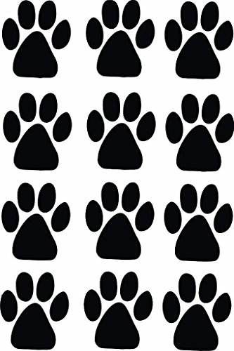 Vinyl Pet (12 Paw Prints - Dog Pet Vinyl Wall Sticker Decal Home Decor Veterinary pet hospitals - 12 Inches x 18 Inches Color Black)