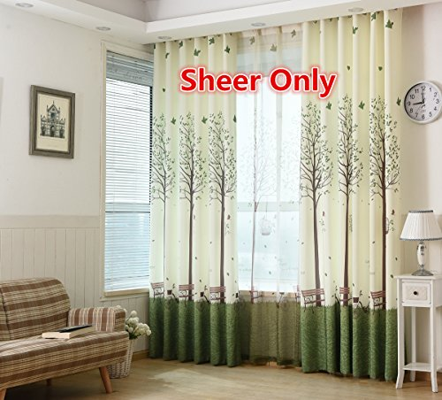 WPKIRA Window Treatments Elegance Modern Rural Pastoral Style Trees Birds Rod Pocket Top Printing Voile Screening Sheer Window Curtain for Living Room (1 Panel W39 by L96 inch)