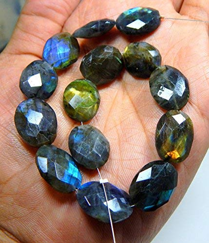 (1 Strand Natural Labradorite Faceted Beads Marquise Shape 9x16 to 14x25.mm Approx 8 inch by Gemswholesale)