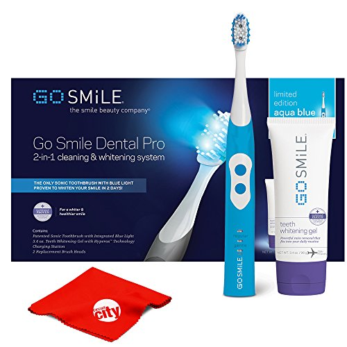 (Go Smile Sonic Blue UV Toothbrush At Home Dental Care Teeth Whitening System (Aqua Blue))
