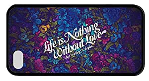 Hipster iPhone 4 case fun cover nothing without love TPU Black for Apple iPhone 4/4S