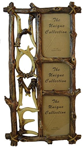 (Pine Ridge Triple Picture Photo Frame Deer Antler Home Design Family Photo Collage Frame for Wall Hanging Home Decor)