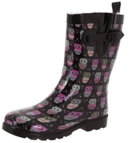 Capelli New York Ladies Shiny Owl Printed Mid-Calf Rain Boot Black Combo 9 by Capelli New York