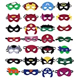 Superhero Masks, Superhero Party Supplies by SharpHero (Set of 28) - Superheroes Party Favors Toy for All Children Aged 3+, Cosplay Character Felt Mask with Elastic Band for Boys and Girls, Kids, Birthday Parties