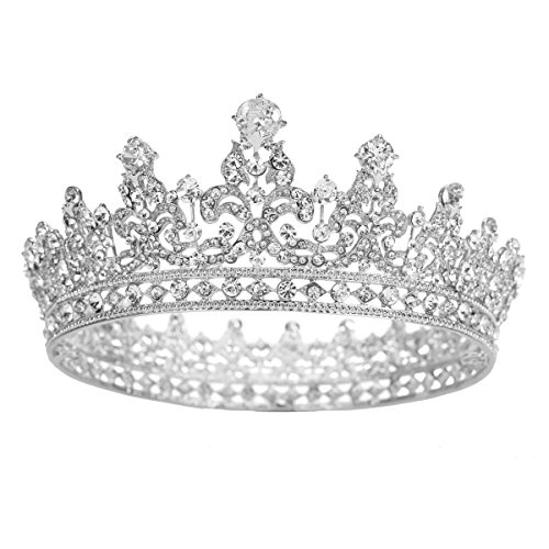 FUMUD Charm Rhinestone Zircon Crown Bridal Tiara Crystal CZ Diadem For Bride Princess Pageant Wedding Hair Accessories (Silver) ()