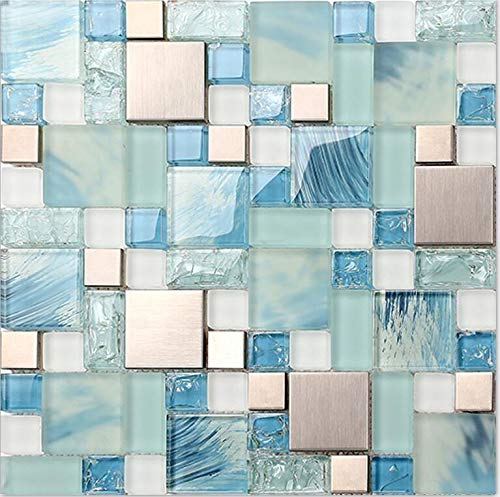 11-Sheets Hand-Painted Blue Glass Bathroom Tile, Silver Stainless Steel Metal Tiles, Crackled Crystal Mosaic Kitchen Backsplash MH10