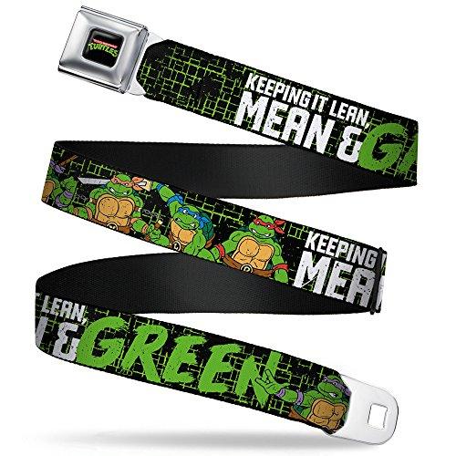 Buckle-Down Seatbelt Belt - Classic TMNT Group Pose6/KEEPING IT LEAN, MEAN & GREEN Black/Green/White - 1.0