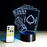 ZTOP 3D Creative Poker 3D 7 Colorf Gradients Night Light for Living Room Bedside Bedroom Decor Illumination 15 Keys LED remote controll Desk Lamp