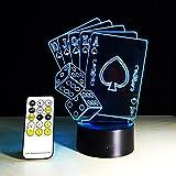 ZTOP 3D Creative Poker 3D 7 Colorf Gradients Night Light for Living Room Bedside Bedroom Decor Illumination 15 Keys LED remote controll Desk Lamp