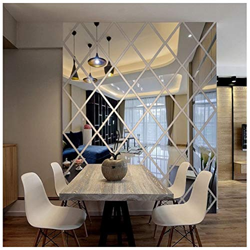 LUHSICE Big Stickers for Mirror Wall for Living Room (Silver, 39.37