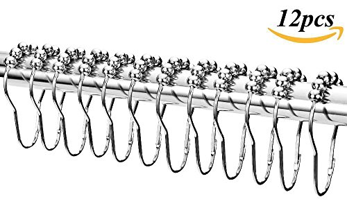 12 Piece Set Rustproof Stainless Steel Shower Curtain Rings Hooks for Bathroom Shower Rod , Marrywindix Polished Chrome Hanger Hook - Stand Up Shower Curtain Rod