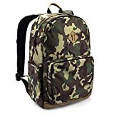 tomtoc Lightweight Multi-Purpose Backpack Fit 15.6 inch Laptop, Unisex College School Book Bag, Business Commuting Travel Pack Bag Daypack, Anti-Theft Pocket, PowerPortal Patent, Camouflage – 22L