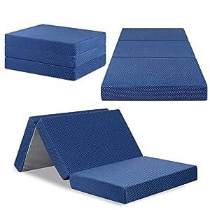 Olee Sleep Tri-Folding Memory Foam Mattress Topper (TWIN, 38″ x 78″), Blue, Twin
