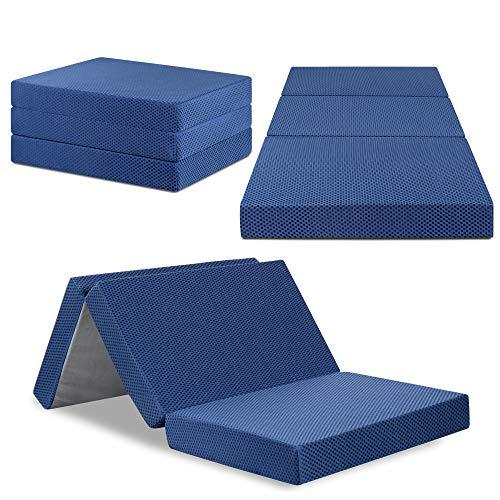 "Olee Sleep Tri-Folding Memory Foam Mattress Topper (TWIN, 38"" x 78""), Blue, Twin"