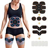 Openuyee Muscle Trainer, 3 in 1 USB Rechargeable Abdominal Toning Belt Abs Belt Home Office Workout Fitness Equipment for Abdomen Arm Leg Support for Men Women (10 Extra Replacement Gels)