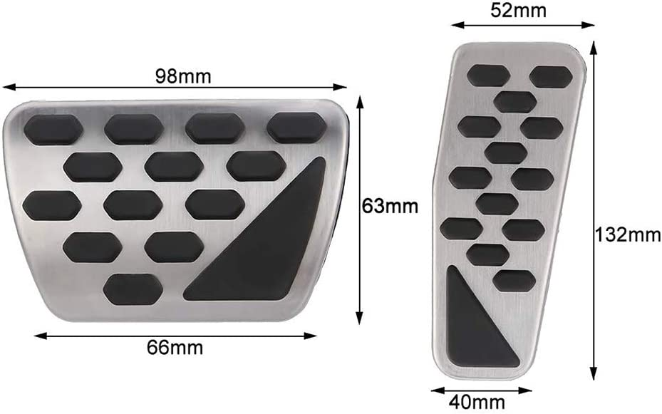 TZOU 2 pcs//Set Gas and Brake Pedal Cover Auto Stainless Steel Foot Pedal Pad Kit for 2018-2019 Jeep Wrangler Jl Models
