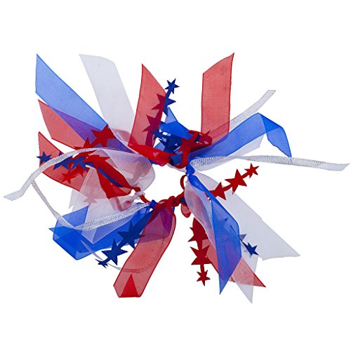 Lux Accessories Festive 4th of July America Red White Blue Ribbon Hair Tie (4th Of July Hair Accessories)
