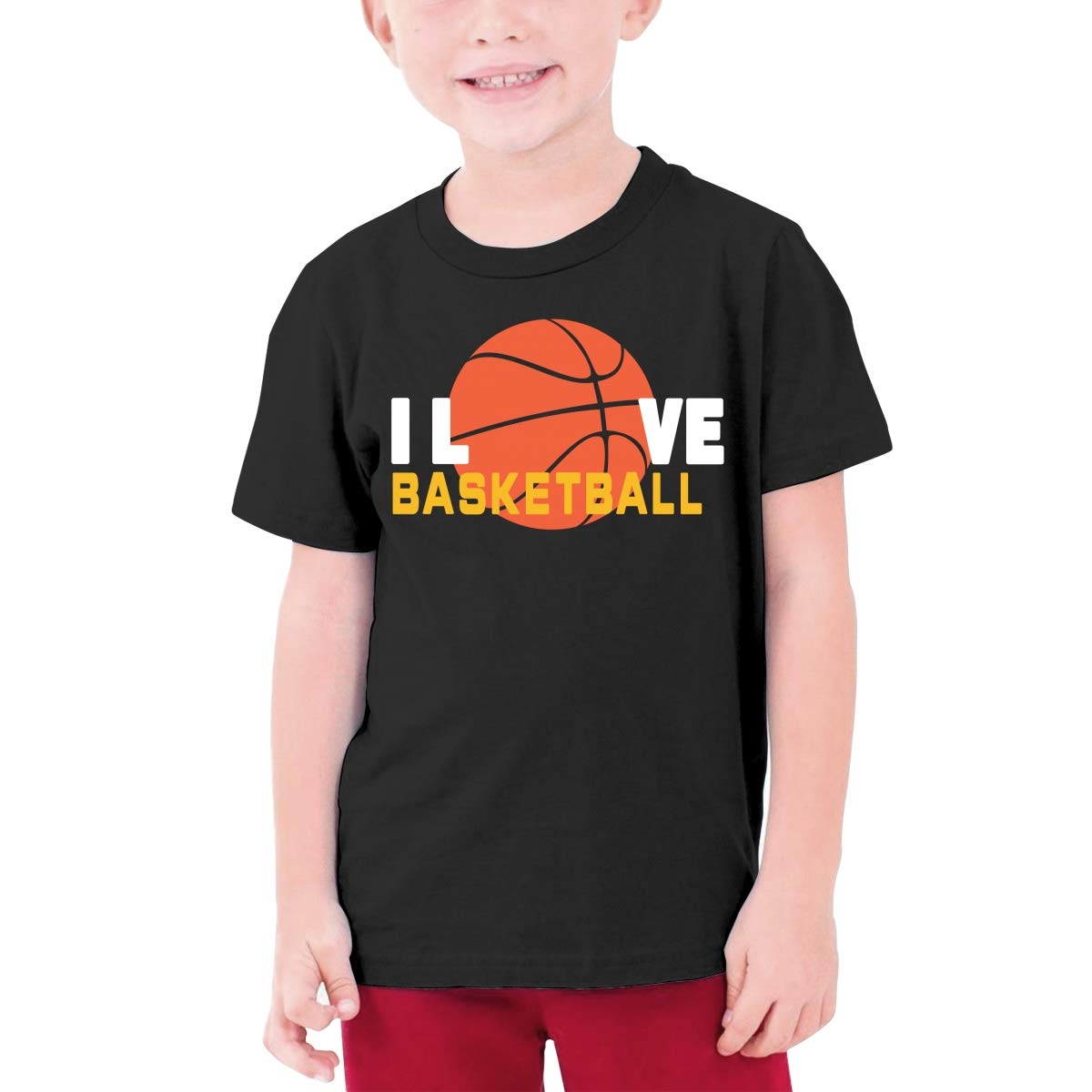 Youth Graphic Tshirts Teenage Boys Girls Short Sleeve T-Shirt I Love Basketball Printed Round Collar T Shirt Tees Tops