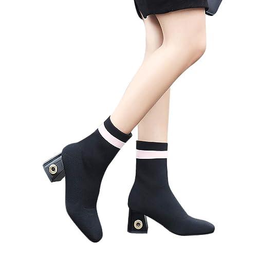 Botas de Calcetines Tacón Altas Ancho Cuña para Mujer Invierno Primavera 2019 PAOLIAN Botines Biker Medio Elástica Zapatos Señora Calzado Otoño Dama ...