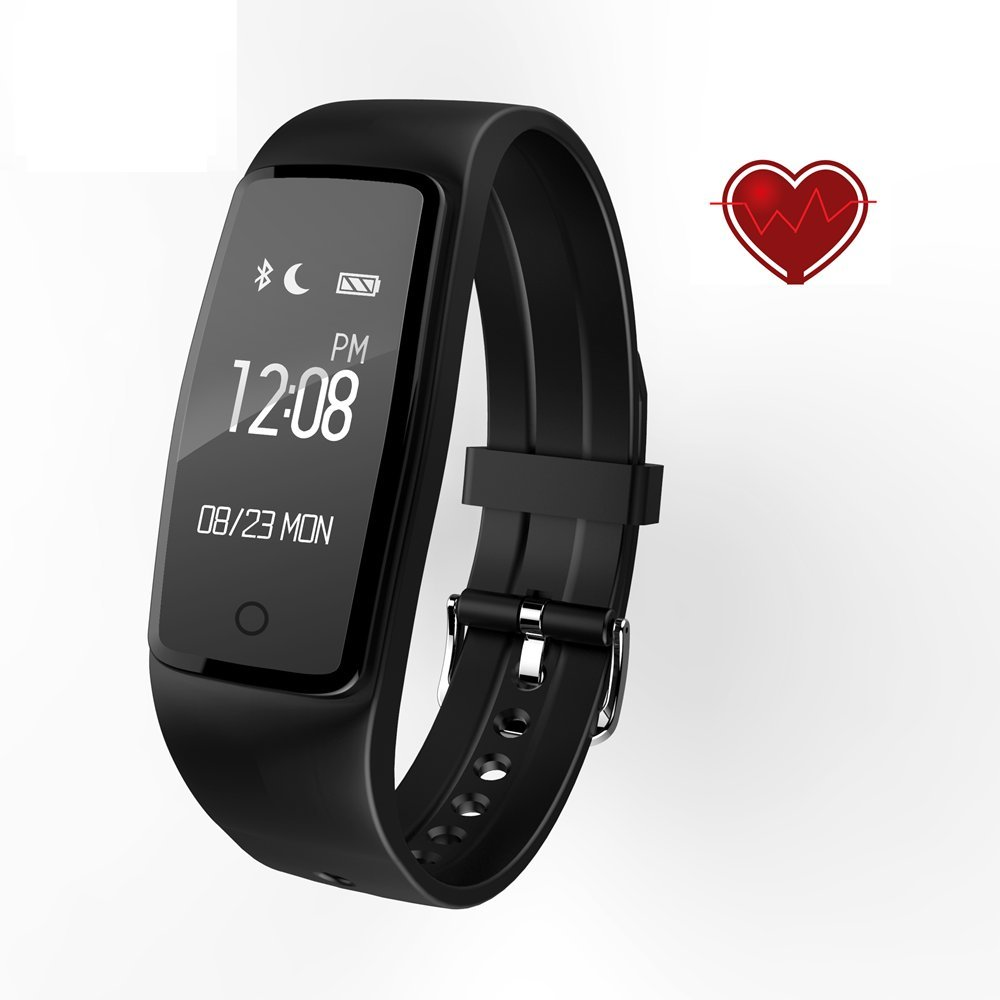 HR Monitor Fitness Tracker, SCONFID Fitness Tracker Pedometer Step Counter Watch with Heart Rate Monitor Activity Tracker Watch Bluetooth 4.0 for IOS and Android