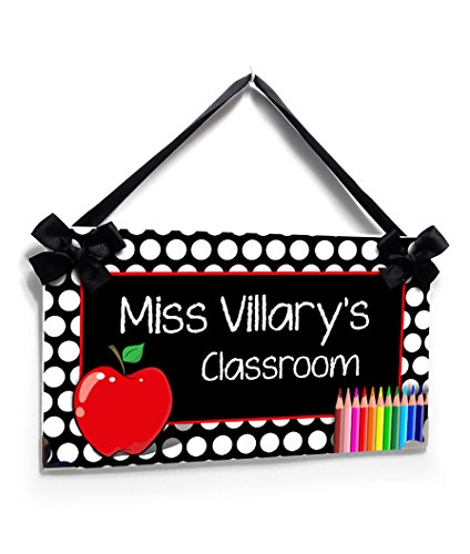 Personalized Teacher Decorations White Polka Dots with a Red Apple and Crayons