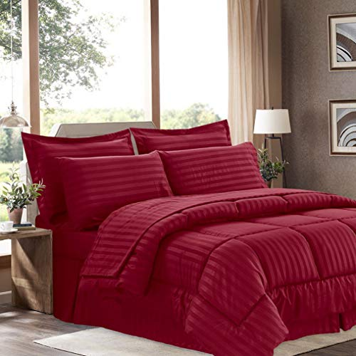 Hemau Premium New Soft 6 Piece Bed in a Bag with Dobby Stripe Comforter, Sheet Skirt, and Sham Set, Twin, Burgundy, 6 | Style 503192698