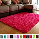 teenage girl room PAGISOFE Ultra Soft Area Rugs Girls Kids Bedroom Carpet Nursery Decor Living Room Rug Floor Mat 4' x 5.3',Hot Pink