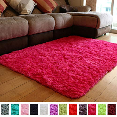 Hot Pink Carpet (PAGISOFE Ultra Soft Area Rugs Girls Kids Bedroom Carpet Nursery Decor Living Room Rug Floor Mat 4' x 5.3',Hot)
