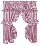 Pink Double Swag Shower Curtain Royal Bath Double Swag Diamond Piqued PEVA non-Toxic Bathroom Window Curtain (70