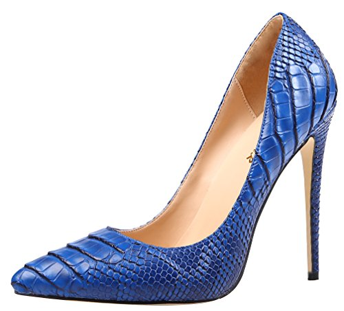 AOOAR Womens Snakeskin-Print High Heel Dress Pumps Shoes Blue Pu EqylMR