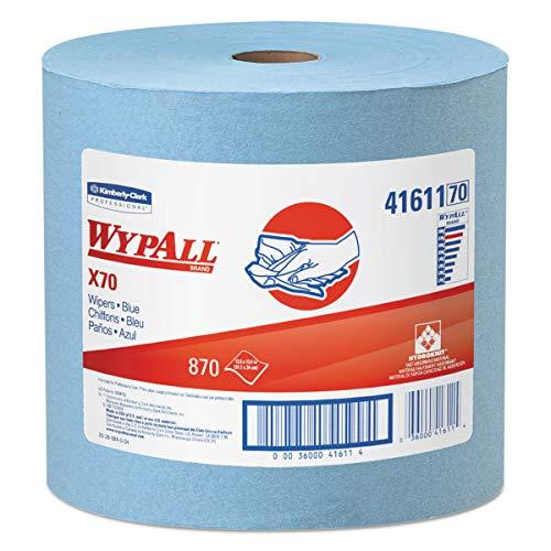 WypAll 41611 X70 Cloths, Jumbo Roll, 12 1/2 x 13 2/5, Blue, 870/Roll