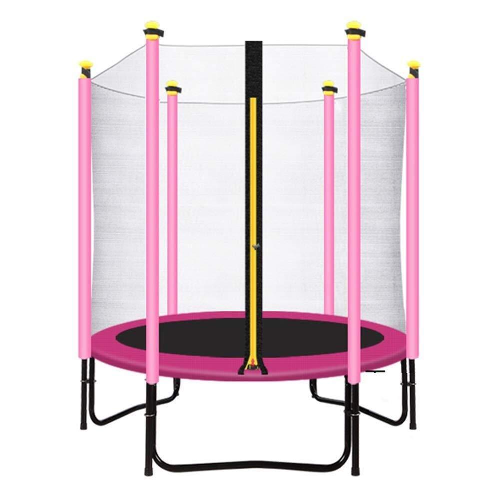 エンクロージャーネット付きフィットネスルームトランポリン、屋内/屋外用ピンク150cm安全運動用警備員-最大荷重200KG