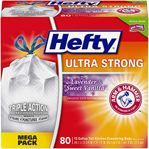 36 Ultra Bins - Hefty Ultra Strong Tall Kitchen Trash Bags - Lavender & Sweet Vanilla, 13 Gallon, 80 Count