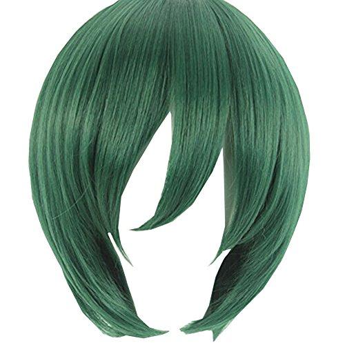 [Silvercell Boys Cosplay Party Costume Straight Short Full Wig Dark Green] (Short Green Wig)