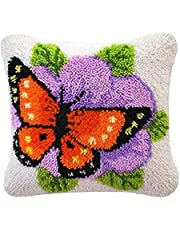 DIY Latch Hook Kits Throw Pillow Cover Cushion Kit with Pattern Printed 16X16 inch, Crochet Needlework Crafts for Kids and Adults (Butterfly)