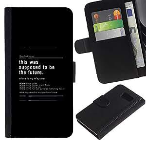 KLONGSHOP // Tirón de la caja Cartera de cuero con ranuras para tarjetas - Esto se supone que ser el futuro - Samsung Galaxy S6 //