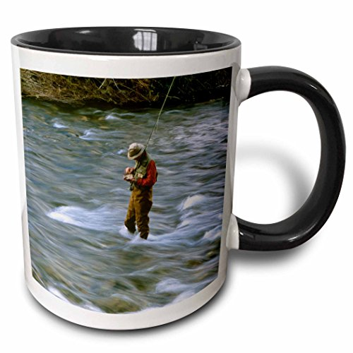 3dRose 91765_4 Fly Fishing, Rock Creek, Missoula Montana-Us27 Cha1369-Chuck Haney Two Tone Black Mug, 11 oz, White