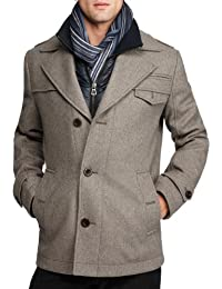 Boss Orange by Hugo Boss Men's Ofanta Wool Jacket Pea Coat-Grey