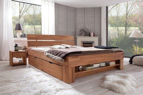 Einzelbett mit bettkasten buche  Futonbett SOFIE 140 x 200 cm, Holz Bett aus Buche massiv, Kernbuche ...